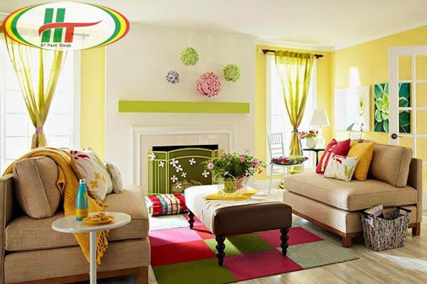 Gợi ý sơn nội thất phòng khách màu vàng chanh ấn tượng-3