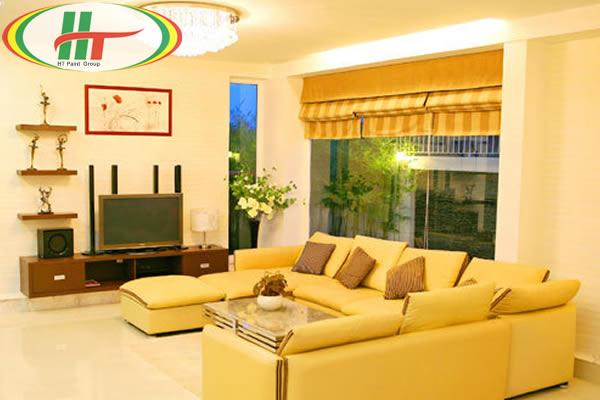 Gợi ý sơn nội thất phòng khách màu vàng chanh ấn tượng-4