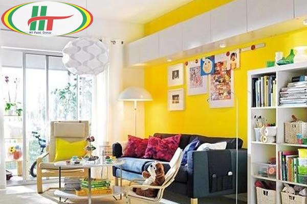 Gợi ý sơn nội thất phòng khách màu vàng chanh ấn tượng-6