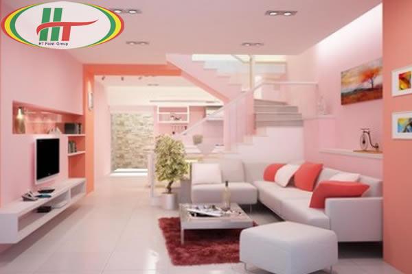 Phòng khách màu hồng phấn