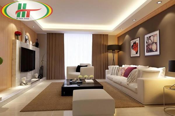 Không gian phòng khách màu nâu
