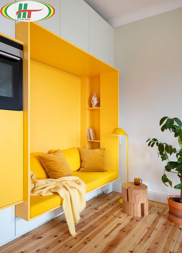 Ấn tượng với căn hộ trang trí nội thất màu vàng-1