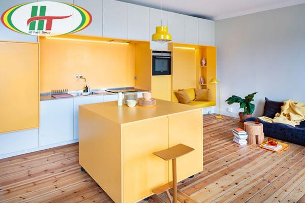 Ấn tượng với căn hộ trang trí nội thất màu vàng-3