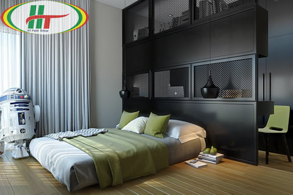 Phòng ngủ màu đen cho người mệnh Mộc