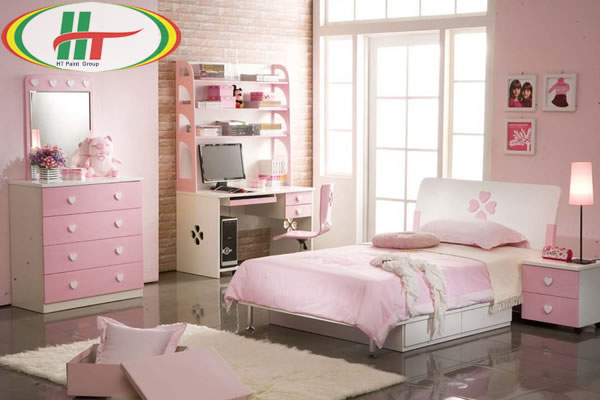 Phòng ngủ màu hồng cho cô nàng mộng mơ