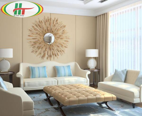 Sử dụng màu kem và xanh làm màu sơn nội thất phòng khách