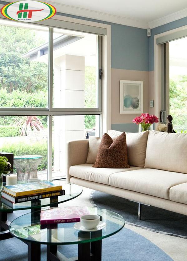 Sử dụng màu kem và xanh làm màu sơn nội thất phòng khách-1