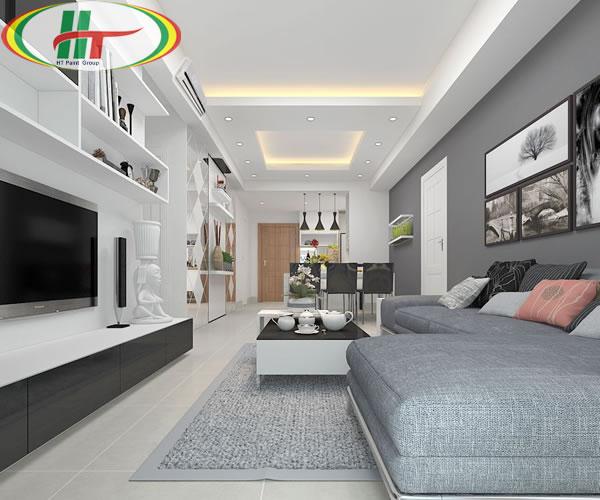 Trang trí nội thất màu xám và màu trắng