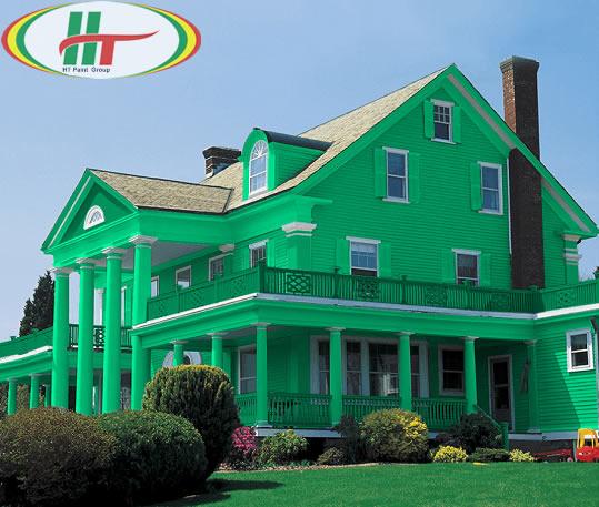 Ngôi nhà sơn ngoại thất màu xanh lá cây