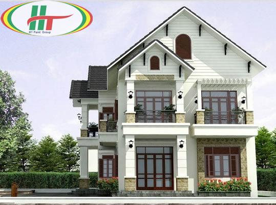 Ngôi nhà sơn ngoại thất màu trắng