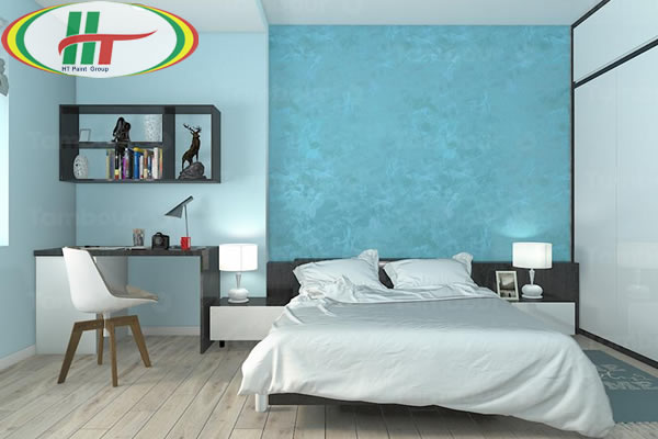 Phòng ngủ sơn màu xanh ngọc lam