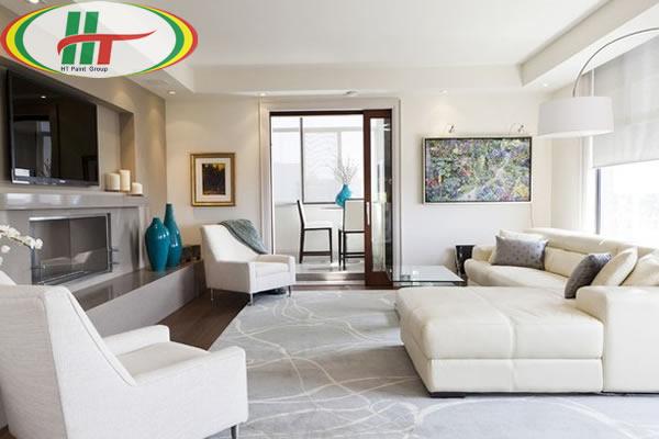 Hướng dẫn sơn nội thất phòng khách màu kem sữa, màu be ấn tượng thu hút-1