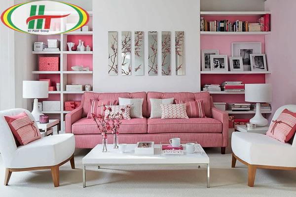 Ý tưởng sử dụng màu hồng trong phòng khách