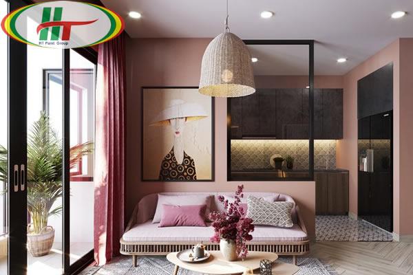 Ý tưởng sử dụng màu hồng trong phòng khách-1