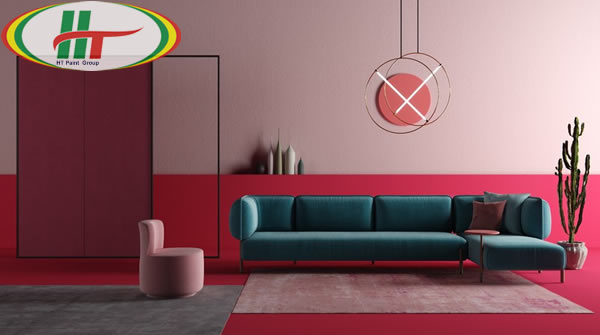 Ý tưởng sử dụng màu hồng trong phòng khách-2