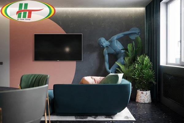 Ý tưởng sử dụng màu hồng trong phòng khách-3