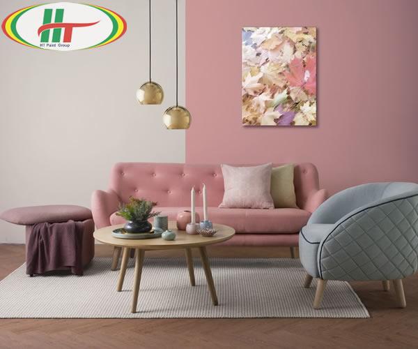 Ý tưởng sử dụng màu hồng trong phòng khách-4