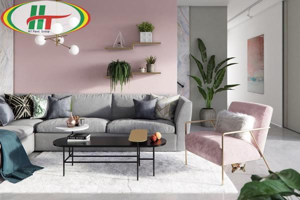 Ý tưởng sử dụng màu hồng trong phòng khách-6
