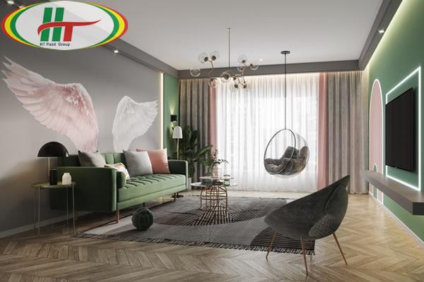Ý tưởng sử dụng màu hồng trong phòng khách-7