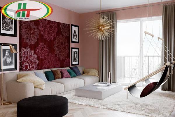 Ý tưởng sử dụng màu hồng trong phòng khách-8
