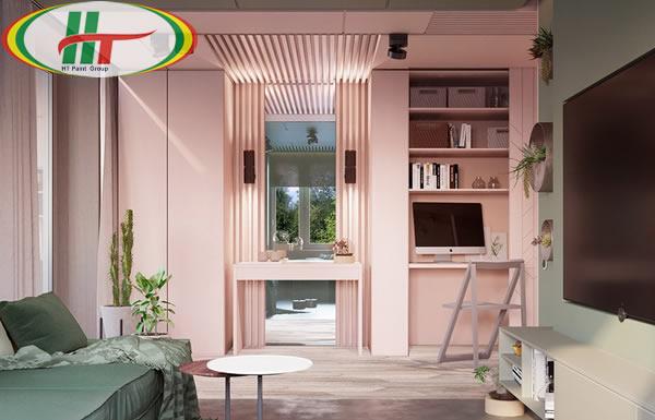 Ý tưởng sử dụng màu hồng trong phòng khách-10