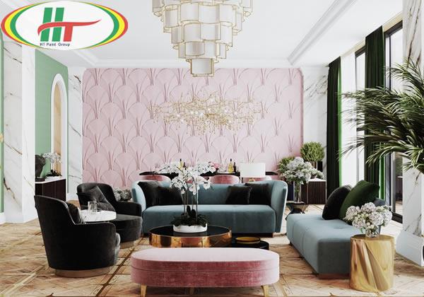 Ý tưởng sử dụng màu hồng trong phòng khách-13