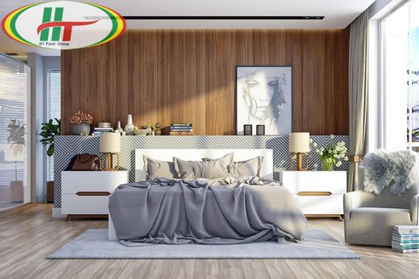 Mẫu phòng ngủ thiết kế ấn tượng nổi bật với tường bằng gỗ-1