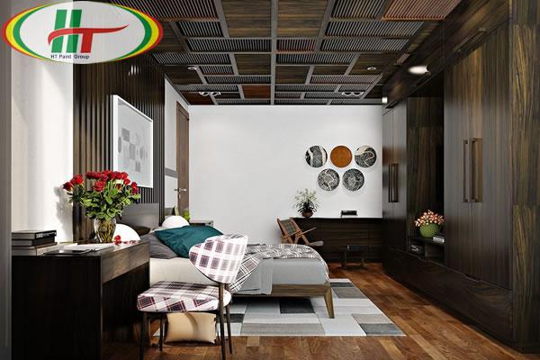Mẫu phòng ngủ thiết kế ấn tượng nổi bật với tường bằng gỗ-3