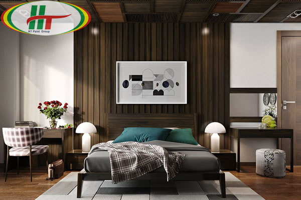 Mẫu phòng ngủ thiết kế ấn tượng nổi bật với tường bằng gỗ-4
