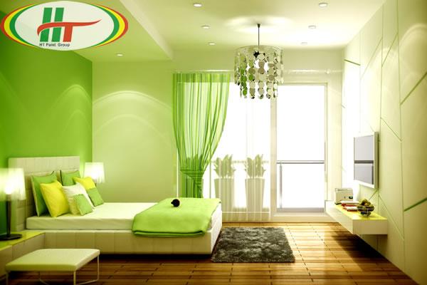 Phòng ngủ sơn nội thất màu xanh lá cây