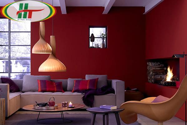 Sơn phòng khách màu đỏ tía
