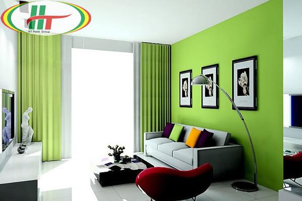 Sơn phòng khách màu xanh lá cây nhạt