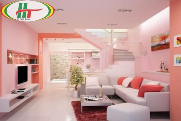Sơn phòng khách màu hồng phấn