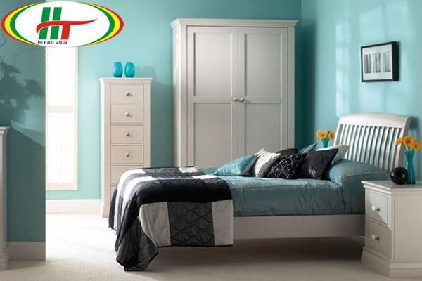 Sơn nội thất phòng ngủ màu lam ngọc