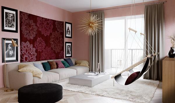 Phòng khách đẹp nổi bật với ý tưởng sơn nội thất màu hồng