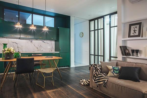 Cách kết hợp tone màu xanh và vàng đồng trong trang trí nội thất