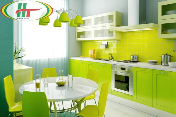 Gợi ý sơn phòng bếp màu xanh đẹp mắt hài hòa