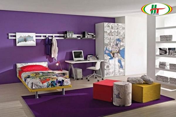 Phòng ngủ màu tím tạo không gian thư thái, dễ chịu đầy lãng mạn