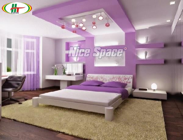 Sơn nội thất với màu tím nhạt cho không gian dịu mát