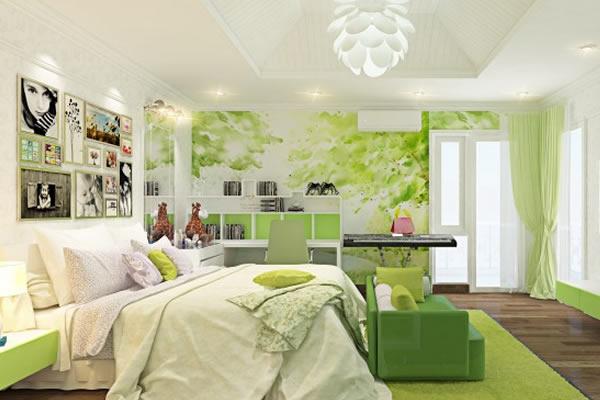 Không gian phòng ngủ màu xanh lá
