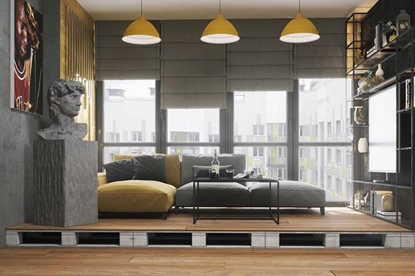 Không gian phòng khách tông màu xám