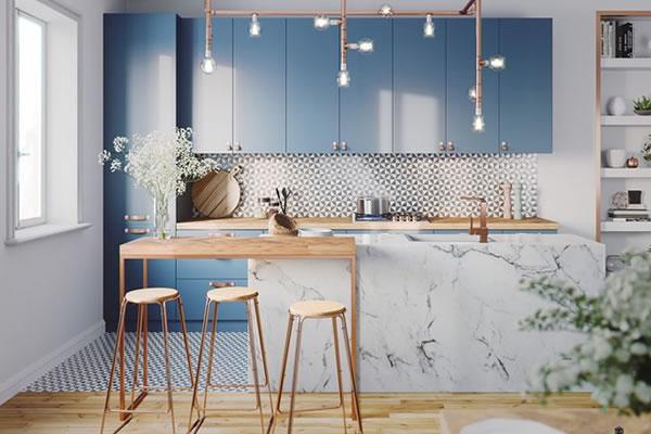 Ấn tượng với không gian bếp tone màu xanh dương