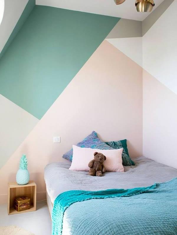 Ý tưởng làm mới phòng ngủ với mảng tường màu sắc ấn tượng