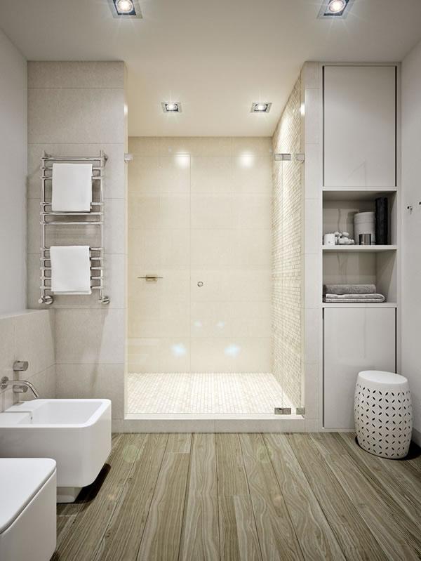 Căn hộ màu trắng với thiết kế phòng khách và nhà bếp liền kề sang trọng tiện nghi