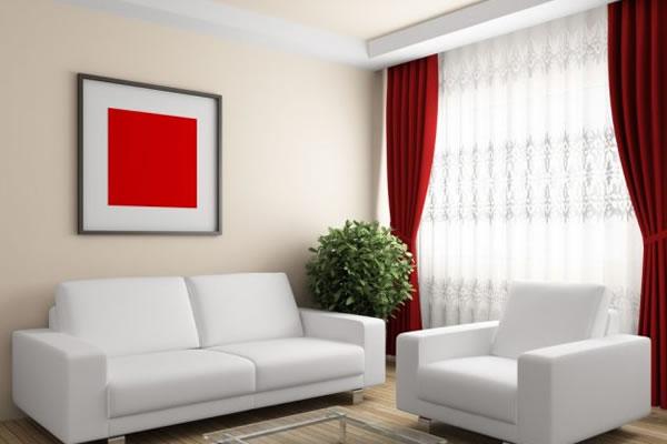 Ý tưởng phối màu cho phòng khách với hai màu trắng và đỏ
