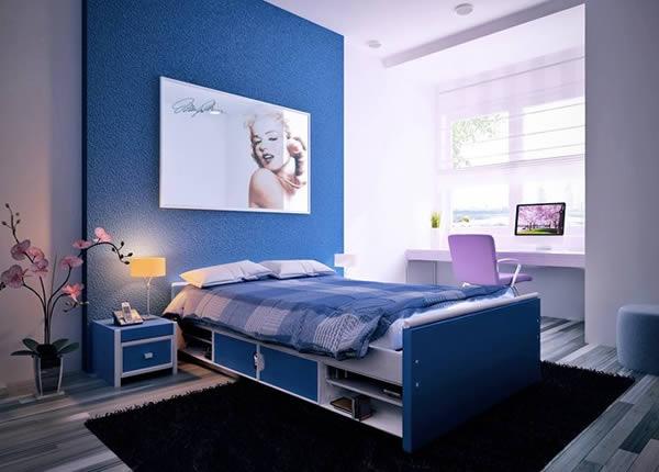 Gợi ý sơn nội thất phòng ngủ màu xanh dương