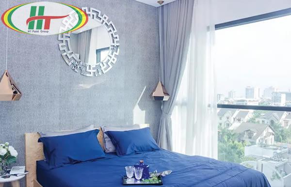Thiết kế nội thất phòng ngủ với những tone xanh ấn tượng