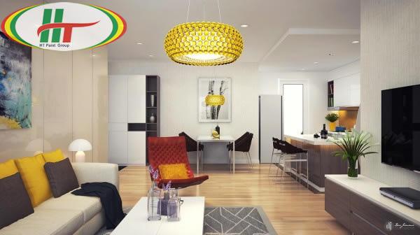 Gợi ý sơn nội thất phòng khách màu vàng chanh ấn tượng