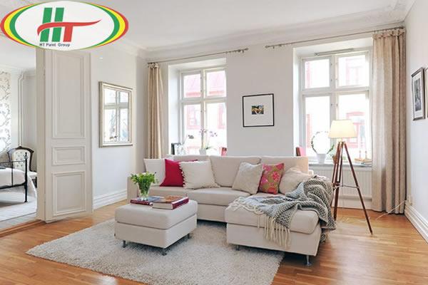 Hướng dẫn sơn nội thất phòng khách màu kem sữa, màu be ấn tượng thu hút