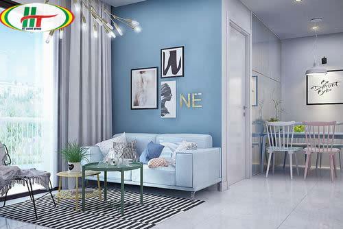 Màu paster xanh dương cho phòng khách đầy cuốn hút